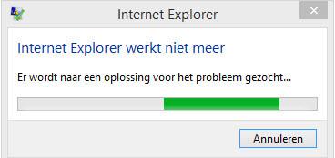 Internet Explorer werkt niet meer