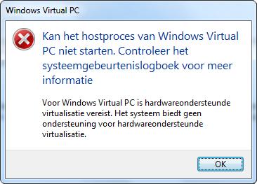 Kan het hostproces van Windows Virtual PC niet starten