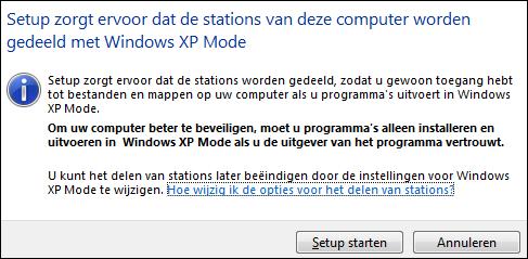 Stations delen Windows XP mode