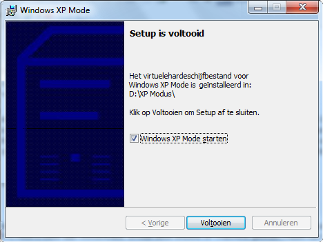 Windows xp mode setup