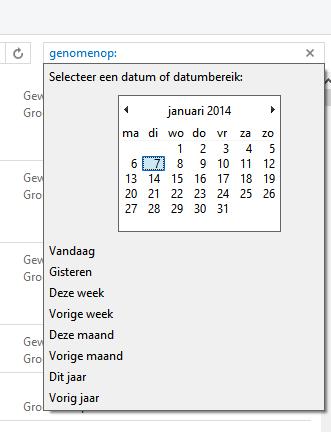 Kalender zoeken op datum