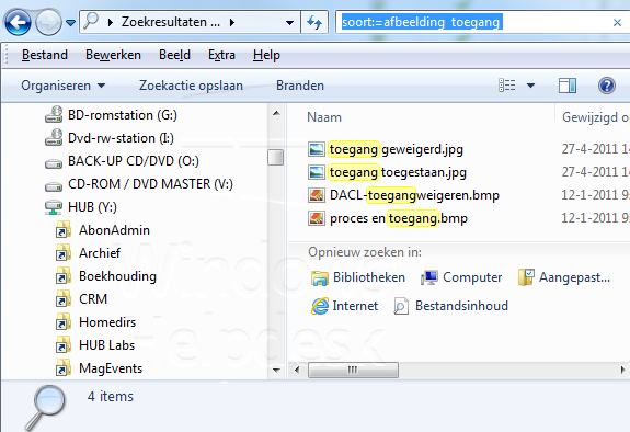 zoeken in Windows 7