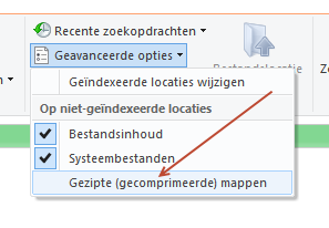zoeken in zipbestanden windows 10