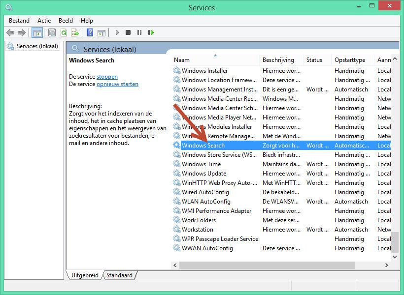 Indexering uitschakelen Windows