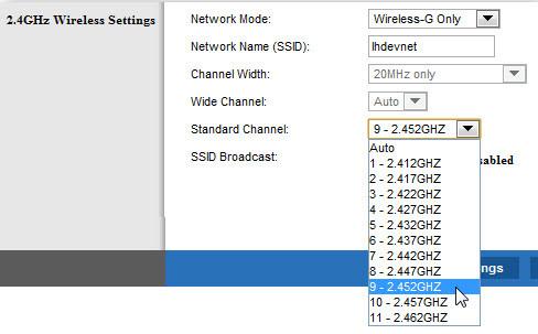 Kanaal aanpassen router