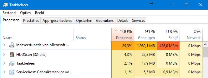 windows indexering blijft hangen