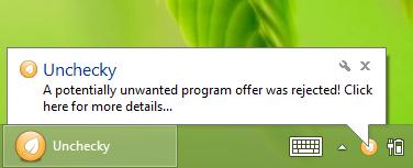 Unchecky notificatie