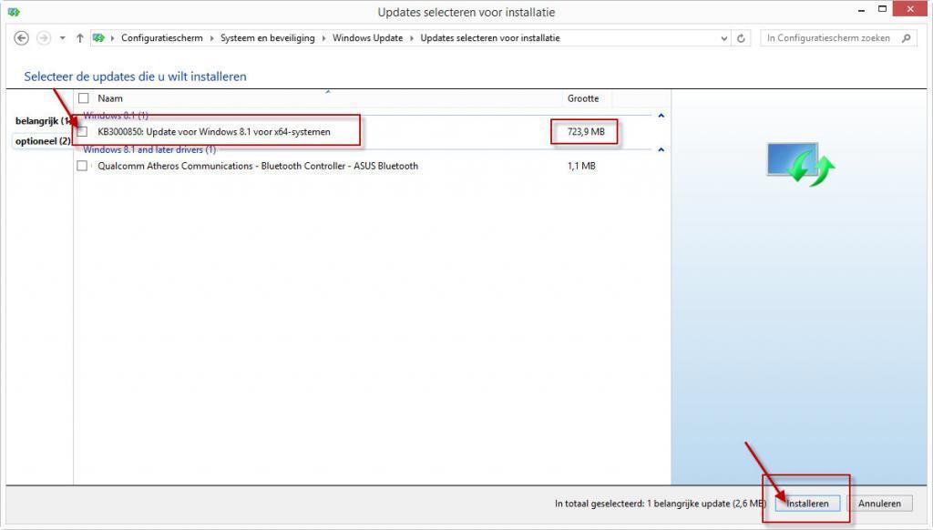 KB3000850 optionele update