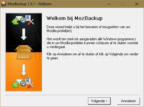 Email Thunderbird back-up MozBackup