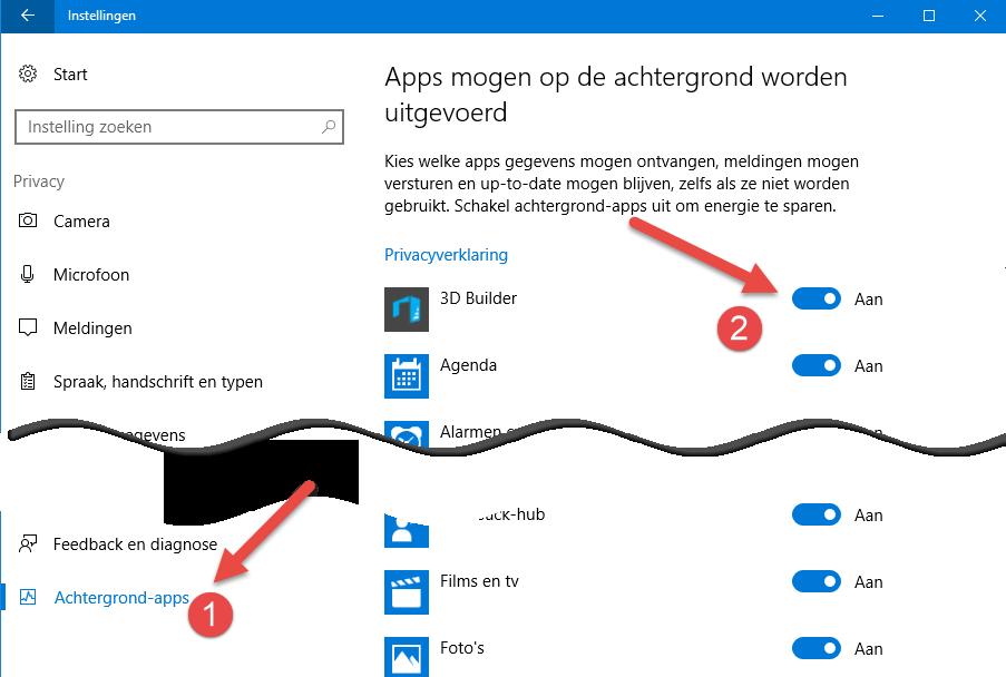Windows 10 Achtergrondapps uitzetten