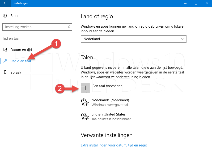 taal veranderen windows 10