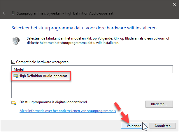 standaard windows geluids driver installeren