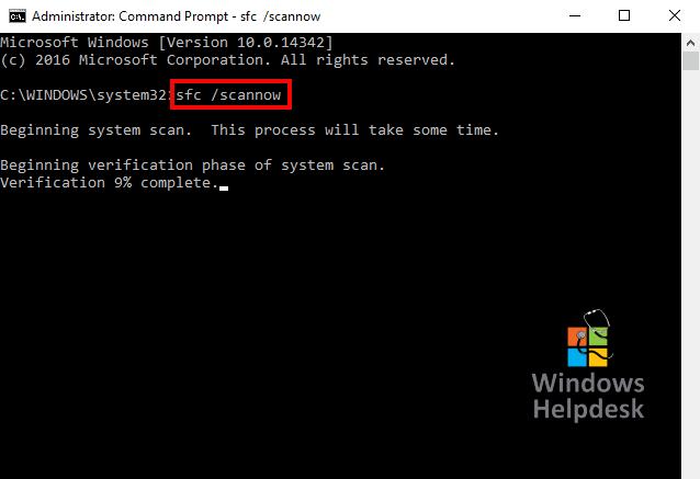 command prompt SFC scannow