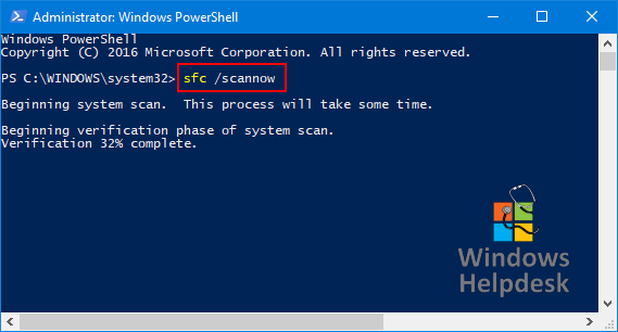 SFC scannow powershell