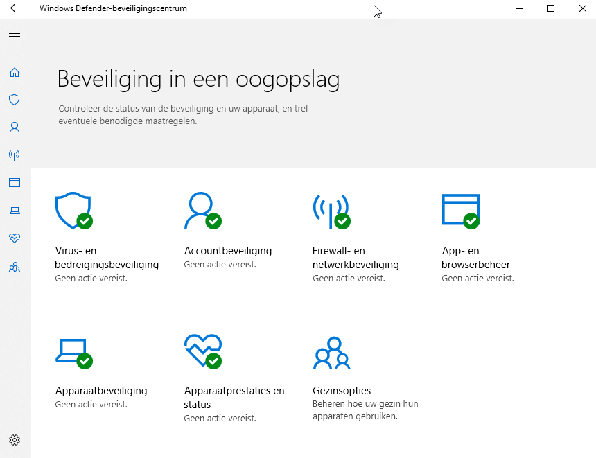 Windows 10 beveiligingscentrum
