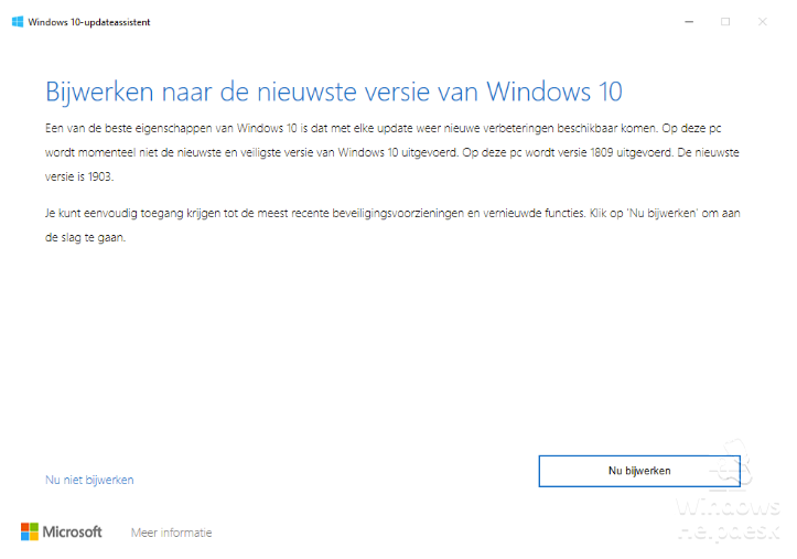 Update-assistent Windows 19033
